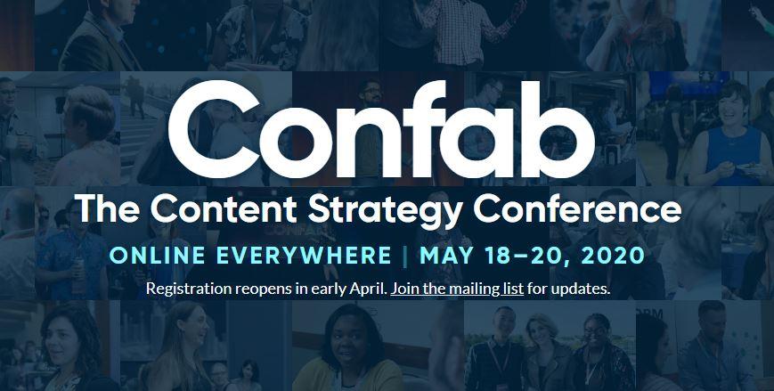 Confab: conferința dedicată strategiei de conținut are loc în 2020 online