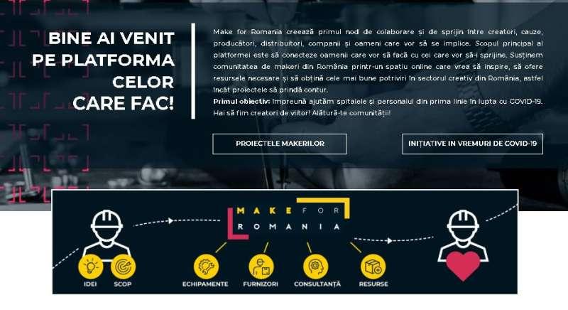 Platforma Make for Romania este dedicată persoanelor și companiilor care dezvoltă proiecte în ajutorul celor expuși în prima linie în criza COVID-19